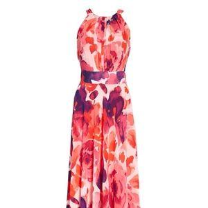 New Eliza J Floral Print Halster Maxi Dress
